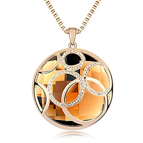 Esenfa Rose Gold Plated Long Sweater Chain Austrian Crystal Pendant