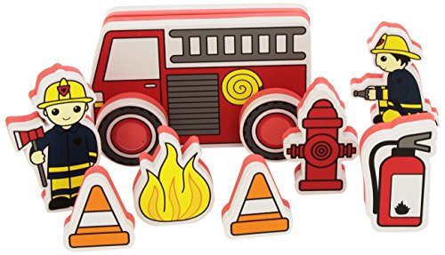 Meadow Kids Bain Build et Play - Voiture à Pompiers - 15 Pièces
