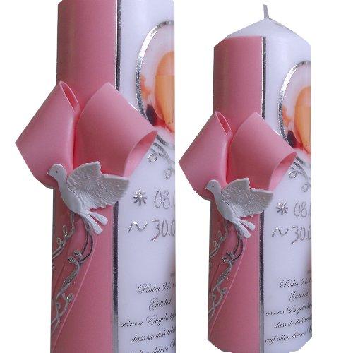 Taufe Taufkerze 200x70 Mädchen Junge mit Foto Taufspruch Mit Namen und Datum Schleife ITP102 (rosa/silber)