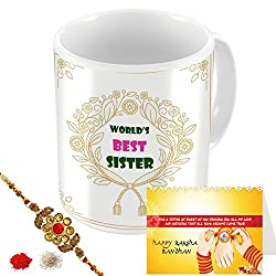 Aart Store Worlds Best Sister Multi Colours Printed Mug, Greeting Card, Rakhi, Roli, Chawal Gift Pack for Brothers/Sisters to Enjoy Raksha Bandhan Festival.