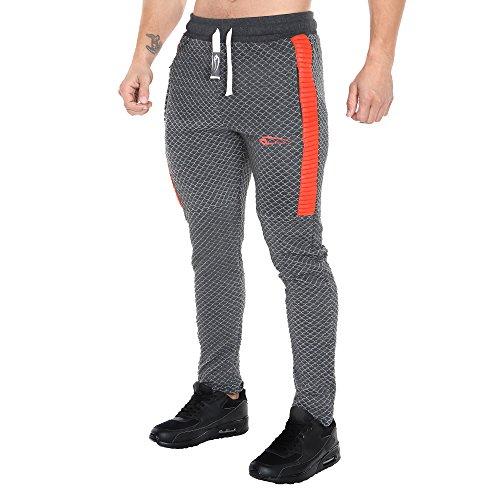 SMILODOX Slim Fit Herren Jogginghose 'Limited 1.0'| Trainingshose für Sport Fitness Gym | Sporthose - Jogger Pants - Sweatpants Hosen - Freizeithose Lang Anthrazit/Orange