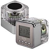 Im Eiswürfel-Design, Lautsprecher/Uhr/Radio, mit Micro SD Card Reader für Apple iPhone 3 G/3GS/4/4S/5/iPod Touch/Classic/Nano alle Generationen, iPad 1, 2, 3, 4, silber