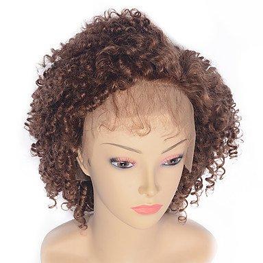 Lace Wig Brazilian Human Hair Lace Front 130% Dichte Kinky Curly Jerry Curl Gelockt Afro-Perücke, gewellt medium auburn (Jerry Curl Perücke)