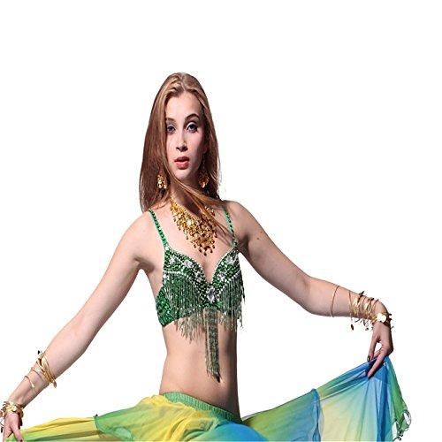 Bauchtanz Kostüm BH Tops Perlen mit Diamant Fransen-BH Top Dancewear Kostüme (Dance Team Halloween Kostüme)