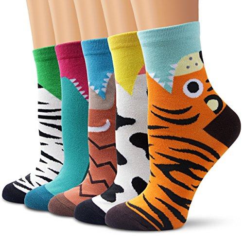 Calcetines Set, Ambielly calcetines de calidad calcetines de las muchachas calcetines de tobillo calcetines de algodón diseños ricos - Casual calcetines cómodos (5 Pares Diente&Animal)
