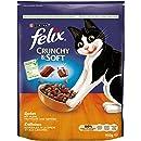 Felix Katzentrockenfutter Crunchy und Soft mit Huhn, Truthahn und Gemüsezugabe Beutel, 4er Pack (4 x 950 g)