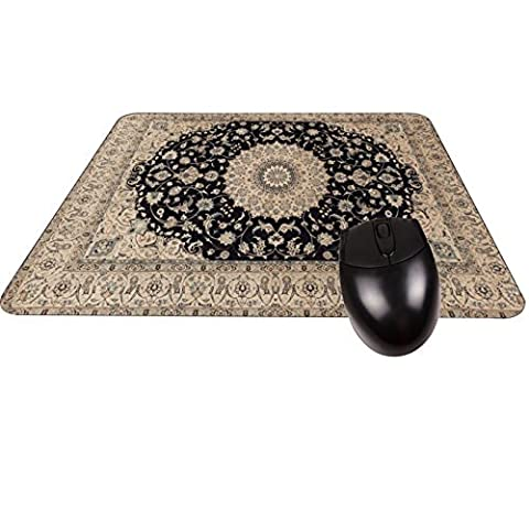 Beige and Black Oriental/Persian Rug-Mat- Square Mousepad - Stylish, durable office accessory and gift