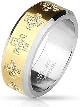 Paula & Fritz® Ring aus Chirurgenstahl Edelstahl 316L Band schwarz, blau, gelbgold mit Kreuzen aus Zirkonia verfügbare...