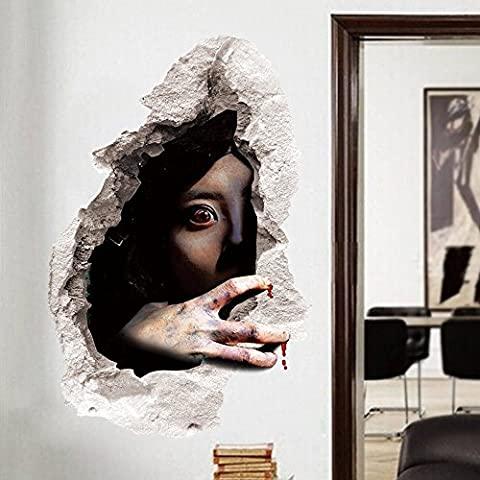 OverDose Halloween Stickers Ghost Scary Bloody Decoration 3d Wall Broken Wall Sticker Home Decoration Art Wall Mural