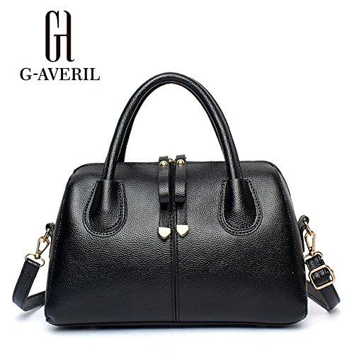 (G-AVERIL) Borse In Vera Pelle Designer Top-Handle Spalla Del Tote Della Borsa Per Le Donne nero