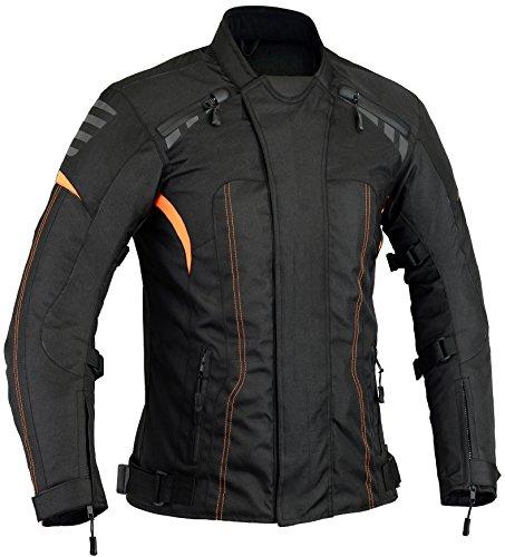 Naranja Chaqueta Protectora para Motocicleta, GearX, Impermeable, térmico Desmontable, XL