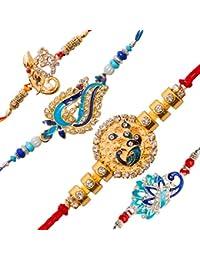 To The Nines Elegant Golden Rakhi/Band for Beloved Brother (Rakhi/Band Combo OF 4)