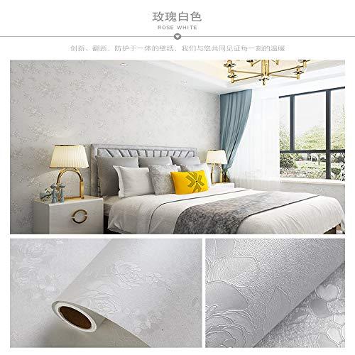 Tapete selbstklebende Schlafzimmer wasserdicht feuchtigkeitsbeständig Wanddekoration Raumaufkleber Tapete Licht weiße Rose