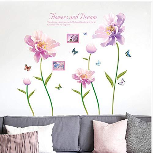 Adesivo da parete effetto 3d fiori rosa farfalla decorativi fiori romantici e sogno camera da letto soggiorno carta da parati fai da te decalcomanie