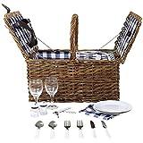 Charles Bentley - Klassisches Picknick-Set für 2 Personen - Weiden-Korb