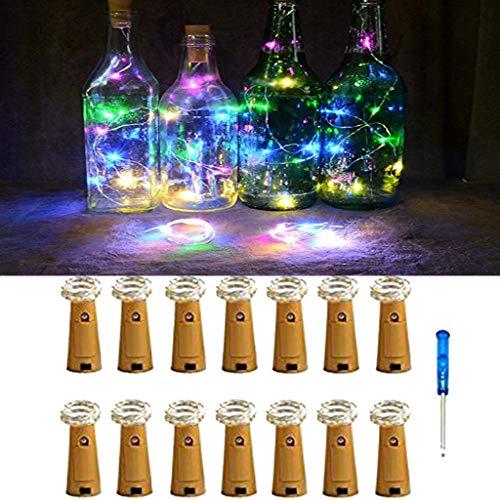 TianranRT 14Pcs Kork geformt LED Nacht Licht Sternenhimmel Licht Wein Flasche Lampe für Party Dekor (Mehrfarbig) -