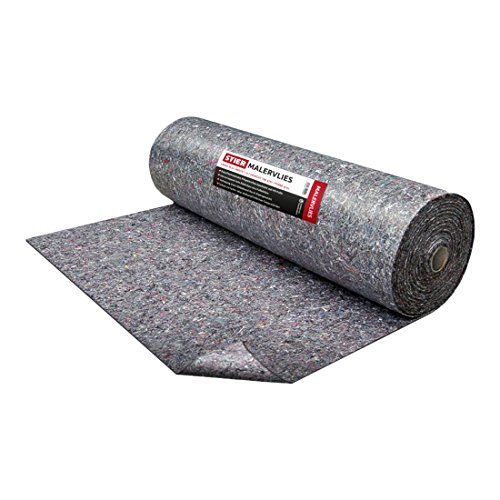 STIER Malervlies I Gewicht 180 g/m² I 1m x 50m I Abdeckvlies I Schutzvlies I Premium Oberflächenschutz Vlies grau I PE Anti Rutsch Beschichtung