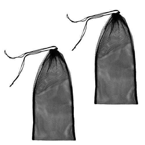 MagiDeal Mesh Bag, Netztasche (2 Stück Pack) für Tauchen Schnorcheln Schwimmen Ausrüstung wie Flossen Schnorchel Tauchbrille Tauchermaske zu Aufbewahrung und Transport Tragetasche Flossentasche - Schwarz