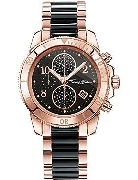 Thomas Sabo Damen-Armbanduhr CHRONO Black Bico Rosé Chronograph Quarz Edelstahl WA0223-268-203-40
