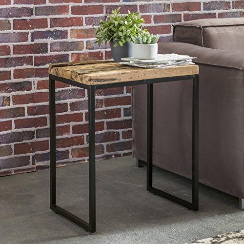 FineBuy Design Beistelltisch BALLARI 51 x 38 x 65 cm Massivholz Tisch mit Metallgestell | Industrie Couchtisch Eckig Modern Holztisch mit Metallbeinen | Loft Wohnzimmertisch Modern