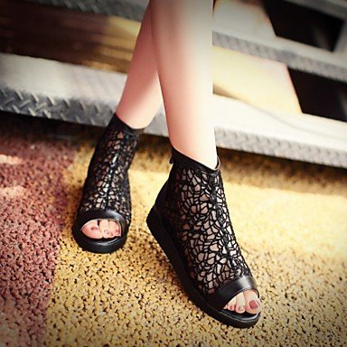 Stivali delle donne Inverno Mary Jane PU Cuoio casuale Wedge Heel Feather Black