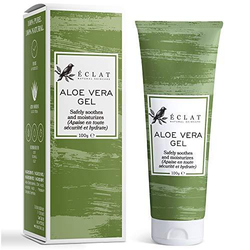 100% Gel Aloe Veral Bio Eclat - Gel Aloe Vera Naturale Viso, Corpo e Capelli con Vitamina C e Olio di Aloe Vera Barbadensis in un...