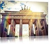 Brandenburger Tor Berlin Deutschland Sehenswürdigkeit Bild auf Leinwand, XXL riesige Bilder fertig gerahmt mit Keilrahmen. Kunstdruck auf Wandbild mit Rahmen. Günstiger als Gemälde oder Ölbild, kein Poster oder Plakat., Format:120x80 cm