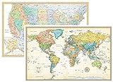 Rand McNally clásico de los Estados Unidos Estados Unidos y mapa mural del mundo Set