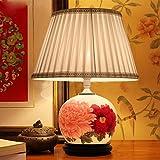 sdkky Lampen Deko-Tisch, handbemalte Blumen, reichen Tischleuchte, Wohnzimmer, Studie chinesischen, Tischleuchte, Tischleuchte Knopfschalter