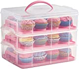 VonShef Snap and Stack Pink 3 Tier Cupcake Holder & Cake Carrier Container Free 2 Year Warranty