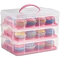 VonShef Mallette de transport à assembler librement Rose 3niveaux pour cupcakes et gâteaux 2ans de garantie
