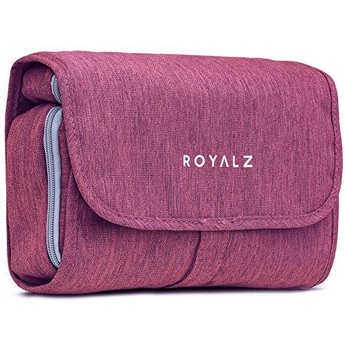 Beauty case ROYALZ con gancio da donna, uomo e bambino - per viaggi ed escursioni come Porta trucchi Trousse Borsa da bagno - 100% poliestere impermeabile, Colore:Viola