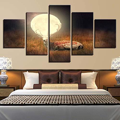 wand HD Drucke Dekoration 5 Stücke Sikawild Modulare Mond Landschaft Bilder Für Schlafzimmer Kunstwerk Poster ()