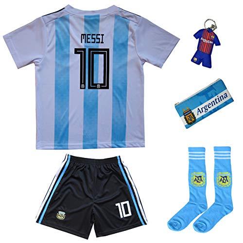Argentinien Messi Trikot Set #10 Heim 2018/19 Kinder Fussball Trikot Mit Shorts und Socken Kinder (13-14 Jahre)