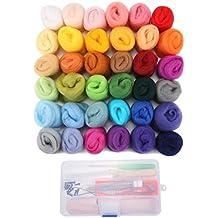 Jeteven 36 colores hilado de lana de lana, fibra mano hilado artesanía de bricolaje para aguja de fieltro