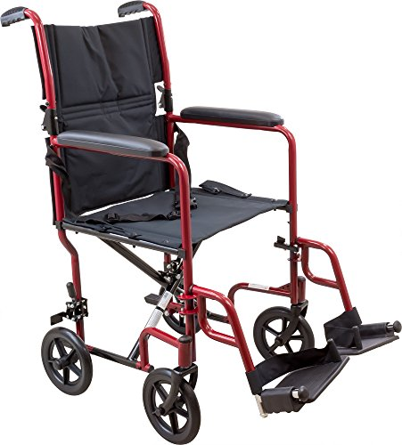 Roscoe Medical KT19BG Steel Transport Wheelchair with 19' Seat, Burgundy