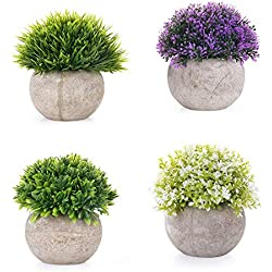 EEKONG Plantas Artificiales Suculentas Plásticas Flor pequeñas en Maceta para decoración del hogar o la Oficina Decorativa en Maceta Oficina en Casa Paquete de 4 (4 pcs)