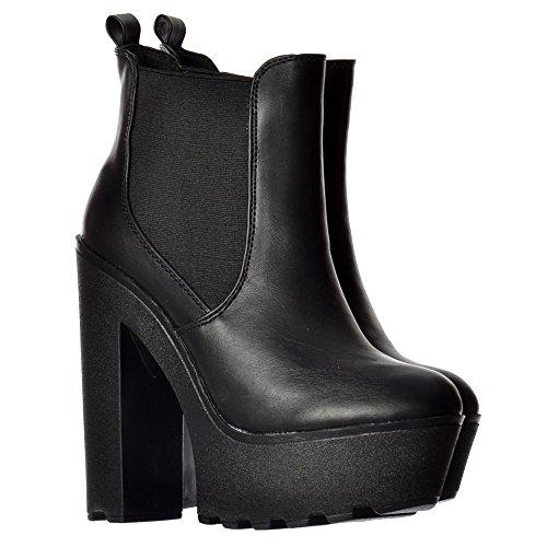Dissimetria Ladies Di Onlineshoe Donne Grosso Tacco Alto Piattaforma Esclusiva Bianco Di Avvio - Nero, Chelsea Caviglia Pu Nero