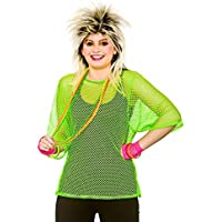 Adults 80's Rave Disco Hen Party Neon Mesh Top Fancy Dress Accessory-Neon Green