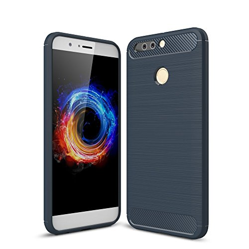 König-Shop Handy-Hülle für Huawei Honor Note 8 Pro Bumper Case Hülle aus TPU Silikon   Sturzsichere Back-Cover in Blau   Im Carbon Look
