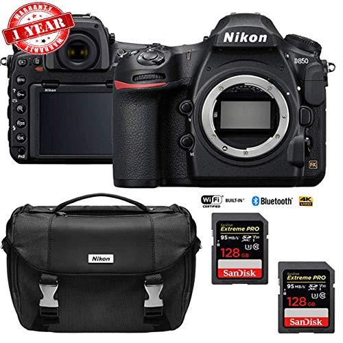 Nikon D850 45.7MP Full-Frame FX DSLR Camera (Body) with Dual 128GB Pro Memory Cards Bundle