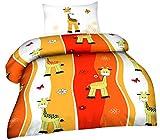 Bettwäsche 2tlg. Biber 100x135 40x60 Giraffe Orange