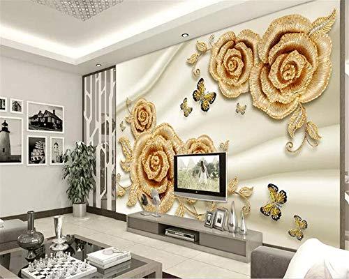 BYUVZHJ Persönlichkeit 3D Wallpaper 3D Gold Rose Schmetterling Schmuck Tv Wohnzimmer Wandtapete Für Wände 3 D @ 280 * 200 cm 1908 Rosen
