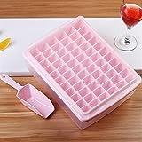 Hokipo 66 Cubes Plastic Ice Tray For Fridge With Storage Box + Spoon