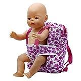 Vovotrade Nette Kinder Rucksack Schultasche Puppe Tragetasche Blume Design Wear Zubehör für 15 Zoll Baby oder 18 Zoll Puppen (Rosa 1)