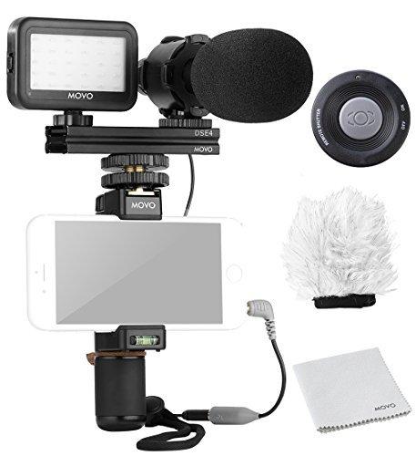 MOVO Smartphone Video Kit V7 mit Griffrigg, professionellem Stereo Mikrofon, LED Licht & drahtloser Fernbedienung - für iPhone 5, 5C, 5S, 6, 6S, 7, 8, X (Regular und Plus), Samsung Galaxy, Note (Iphone Mikrofon Für Video)