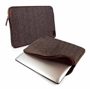 """Tuff-Luv Herringbone Tweed protective sleeve case cover 11"""" Laptop / Tablets / Ultrabooks Devices including; Macbook Air Pro / Asus Vivotab / Zenbook / Lenovo Yoga / Thinkpad / Lynx / Samsung Series 5 & 9 Ultra / Del XPS - Brown"""