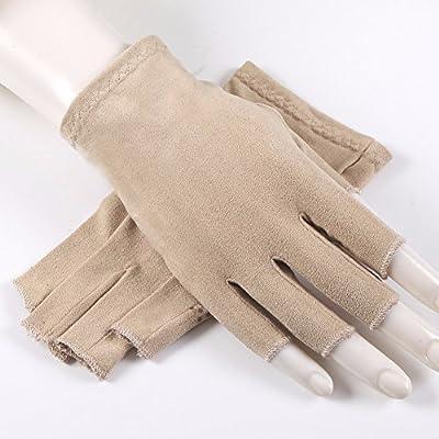 HQLCX Handschuhe Wildleder Rutschfeste Schweiß Resorption Fahren Handschuhe Sonnencreme Fahren Halb Finger Handschuhe Unisex - von HQLCX-Gloves - Outdoor Shop