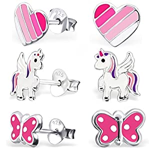 GH* KIDS 3 PAAR Ohrstecker Einhorn + Herz + Schmetterling 925 Echt Silber Mädchen Kinder Ohrringe Geschenkidee XB101