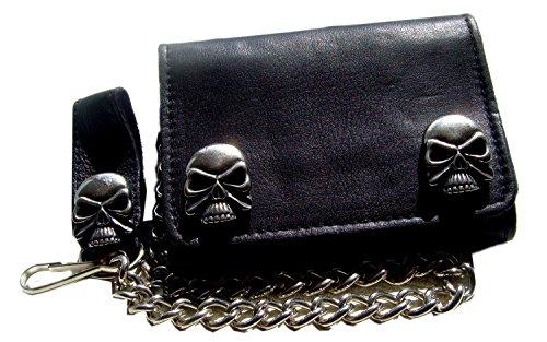Biker Leder Geldbörse Wallet Leder H.D. Skull Silber Farbe schwarz (Skull-echt Leder-kette Geldbörse)